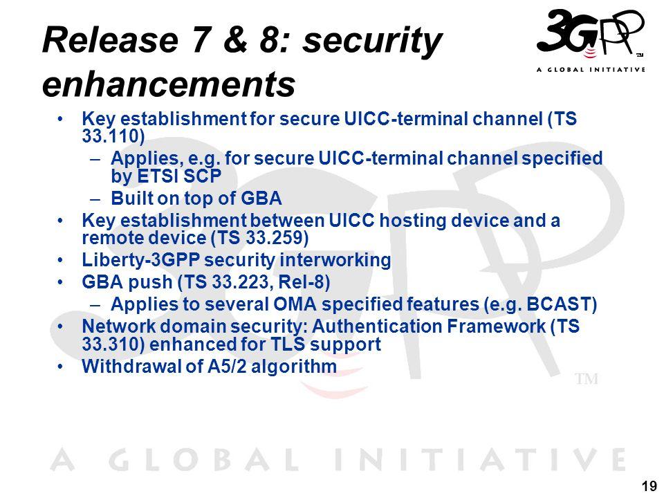 19 Release 7 & 8: security enhancements Key establishment for secure UICC-terminal channel (TS 33.110) –Applies, e.g. for secure UICC-terminal channel
