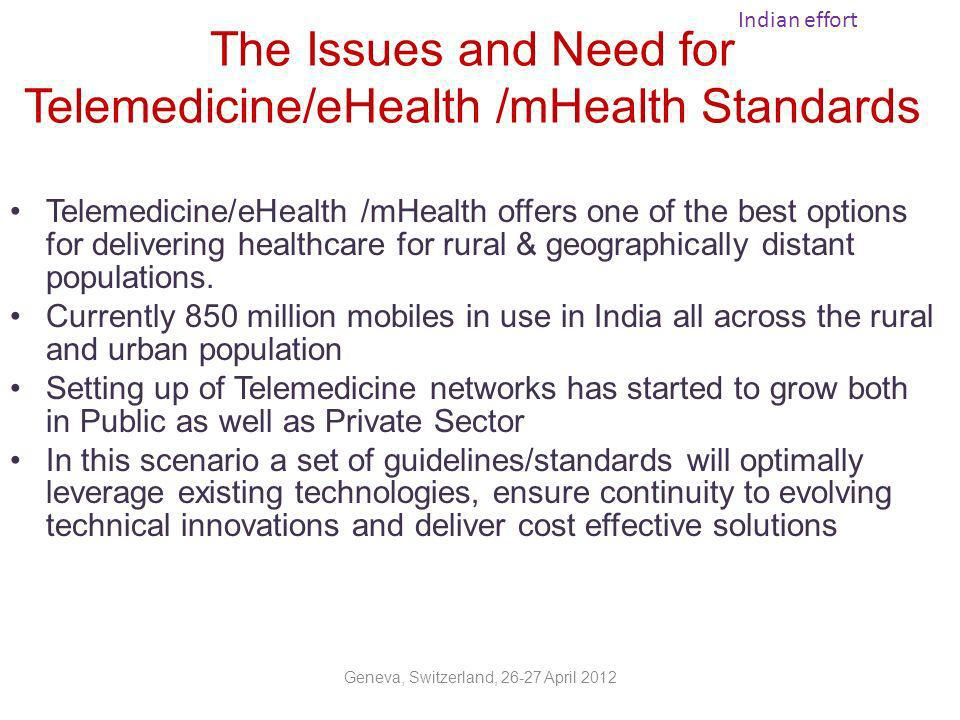 Standardisation-The Initiative As part of the endeavour, Department of IT, through deliberations of Technical Working Group under a high power Committee formulated a set of Standards & Guidelines for Practice of Telemedicine in India in 2003 Taskforce for Telemedicine in India, constituted in 2005 by the Union Ministry of Health and Family Welfare to look into various issues to promote implementation of Telemedicine, Specific tasks were assigned to various subgroups wherein Subgroup I was assigned the following tasks -To work on inter-operability - standards for data transmission; software, hardware, training etc.