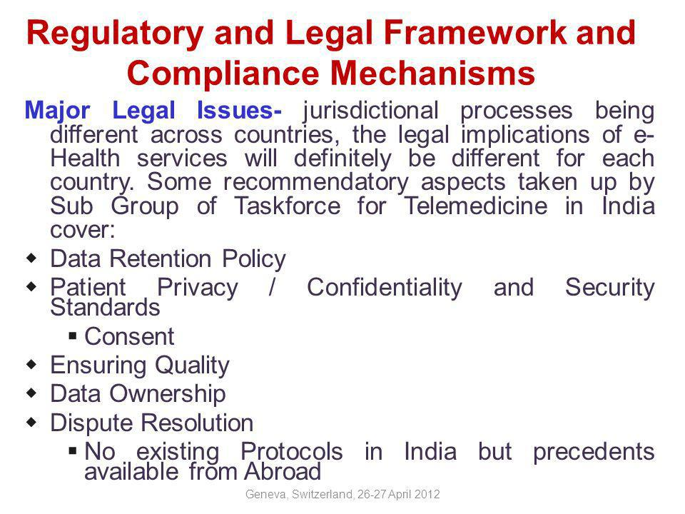 Compliance /Implementation Challenges Arriving at a consensus by stake holders to acceptable standards is a long drawn affair Mechanisms of making stake holders comply to laid down standards is one of the biggest challenge Adherence to standards in e-health two perspectives: information representation & transmission.