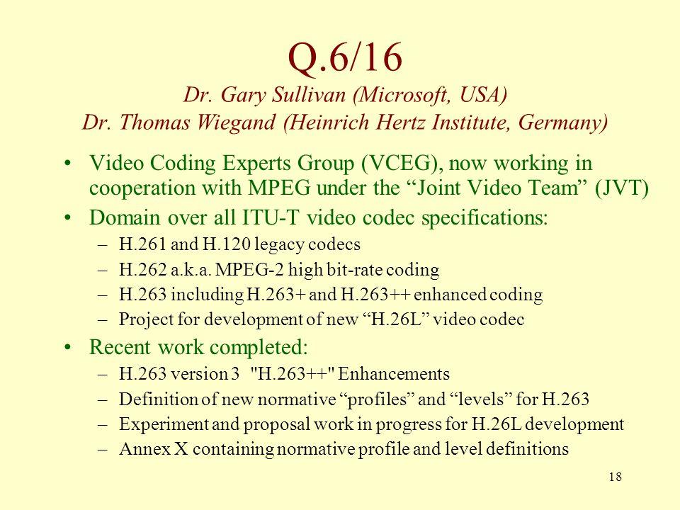 18 Q.6/16 Dr. Gary Sullivan (Microsoft, USA) Dr.