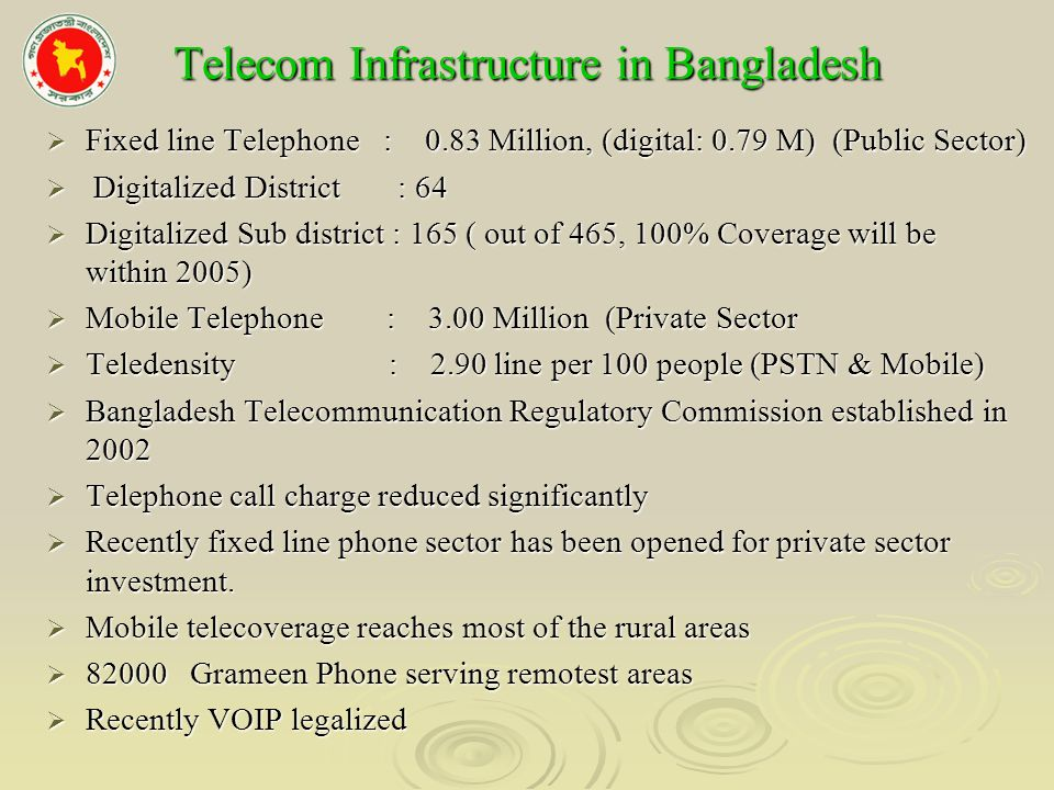 Telecom Infrastructure in Bangladesh Fixed line Telephone : 0.83 Million, (digital: 0.79 M) (Public Sector) Fixed line Telephone : 0.83 Million, (digital: 0.79 M) (Public Sector) Digitalized District : 64 Digitalized District : 64 Digitalized Sub district : 165 ( out of 465, 100% Coverage will be within 2005) Digitalized Sub district : 165 ( out of 465, 100% Coverage will be within 2005) Mobile Telephone : 3.00 Million (Private Sector Mobile Telephone : 3.00 Million (Private Sector Teledensity : 2.90 line per 100 people (PSTN & Mobile) Teledensity : 2.90 line per 100 people (PSTN & Mobile) Bangladesh Telecommunication Regulatory Commission established in 2002 Bangladesh Telecommunication Regulatory Commission established in 2002 Telephone call charge reduced significantly Telephone call charge reduced significantly Recently fixed line phone sector has been opened for private sector investment.