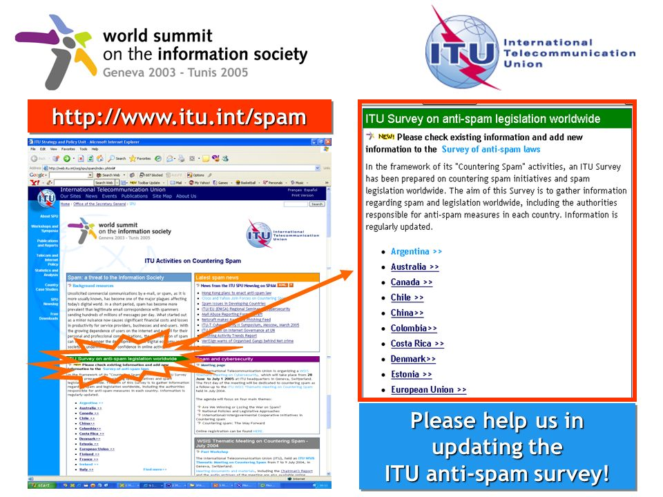 world summit on the information society 4 Please help us in updating the ITU anti-spam survey.