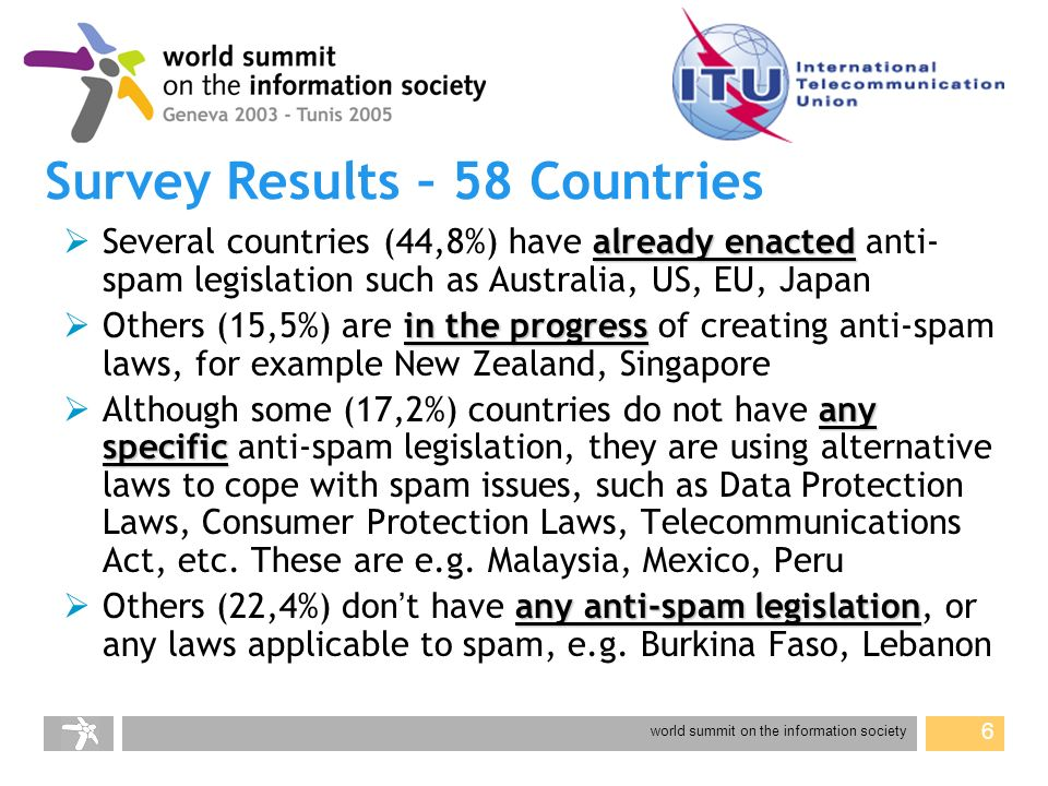 world summit on the information society 17 website: www.itu.int/spam contact: cristina.bueti@itu.int Thank you for your attention