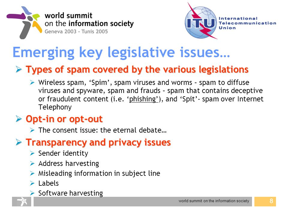 world summit on the information society 9 Emerging key legislative issues… Enforcement Enforcement Who may bring an action.