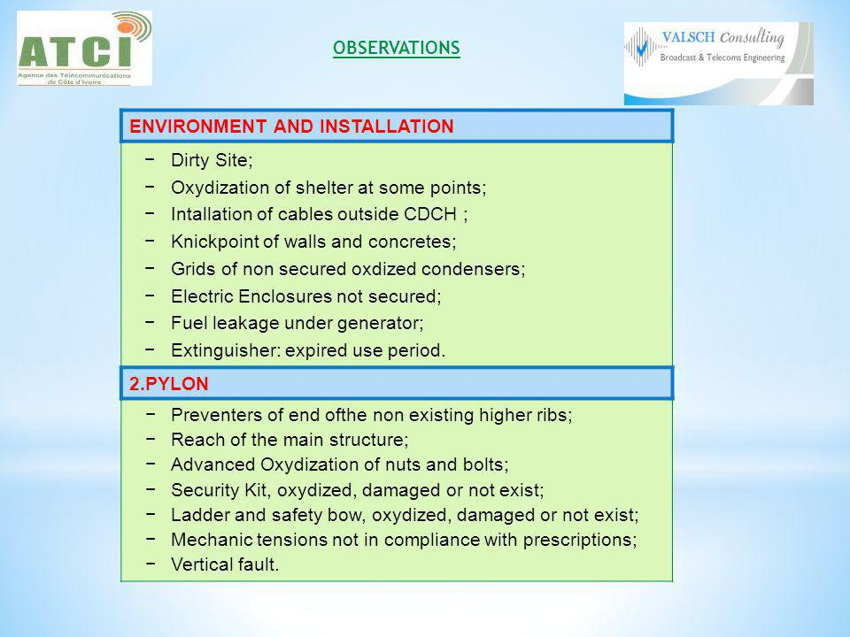 ENVIRONMENT AND INSTALLATION Dirty Site; Oxydization of shelter at some points; Intallation of cables outside CDCH ; Knickpoint of walls and concretes; Grids of non secured oxdized condensers; Electric Enclosures not secured; Fuel leakage under generator; Extinguisher: expired use period.
