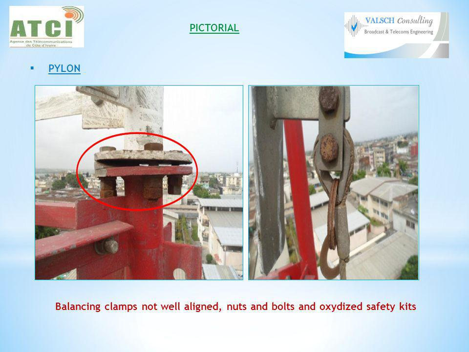 PICTORIAL PYLON Balancing clamps not well aligned, nuts and bolts and oxydized safety kits