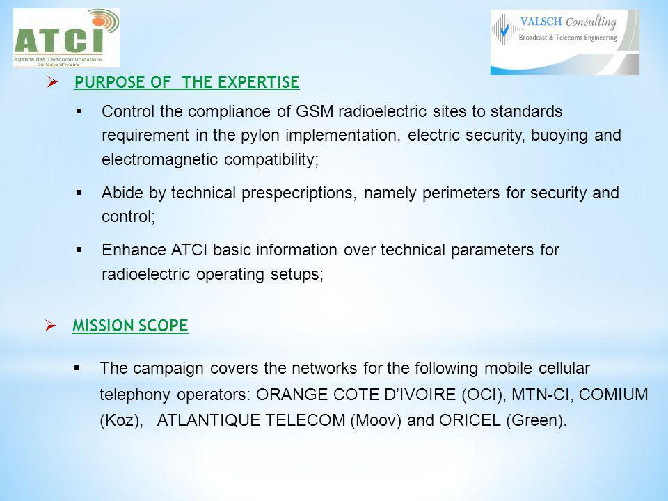PURPOSE OF THE EXPERTISE Control the compliance of GSM radioelectric sites to standards requirement in the pylon implementation, electric security, buoying and electromagnetic compatibility; Abide by technical prespecriptions, namely perimeters for security and control; Enhance ATCI basic information over technical parameters for radioelectric operating setups; MISSION SCOPE The campaign covers the networks for the following mobile cellular telephony operators: ORANGE COTE DIVOIRE (OCI), MTN-CI, COMIUM (Koz), ATLANTIQUE TELECOM (Moov) and ORICEL (Green).