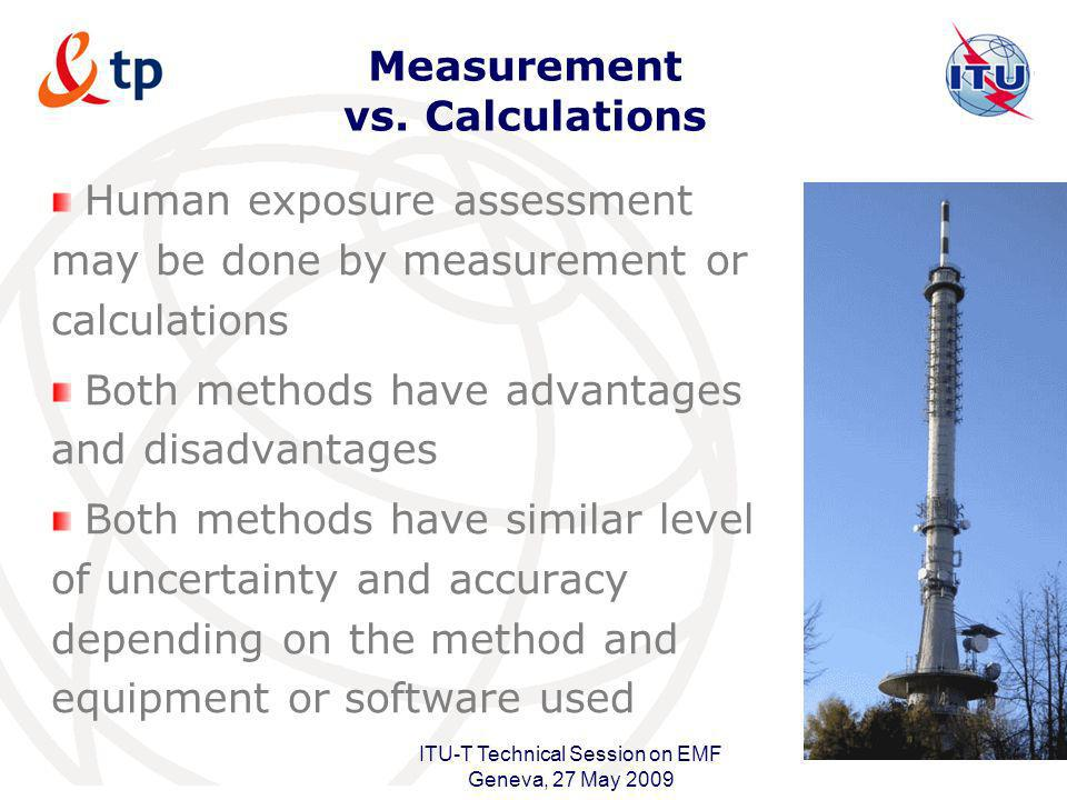 International Telecommunication Union ITU-T Technical Session on EMF Geneva, 27 May 2009 Measurement vs. Calculations Human exposure assessment may be
