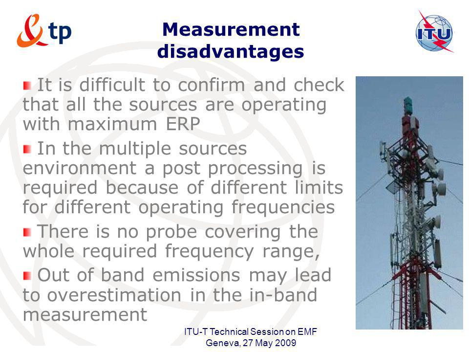 International Telecommunication Union ITU-T Technical Session on EMF Geneva, 27 May 2009 Measurement disadvantages It is difficult to confirm and chec
