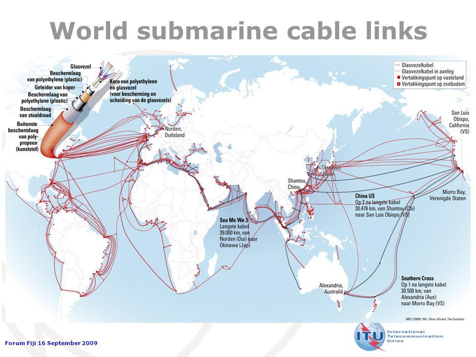 Forum Fiji 16 September 2009 World submarine cable links