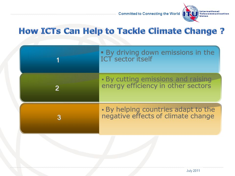 July 2011 Committed to Connecting the World By driving down emissions in the ICT sector itself 1 1 By cutting emissions and raising energy efficiency in other sectors 2 2 By helping countries adapt to the negative effects of climate change 3 3