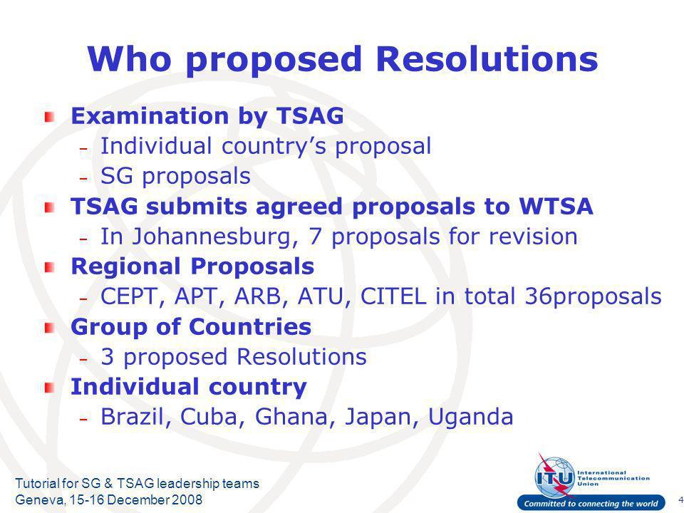 15 Tutorial for SG & TSAG leadership teams Geneva, 15-16 December 2008 ICT/Internet issues ( Res.