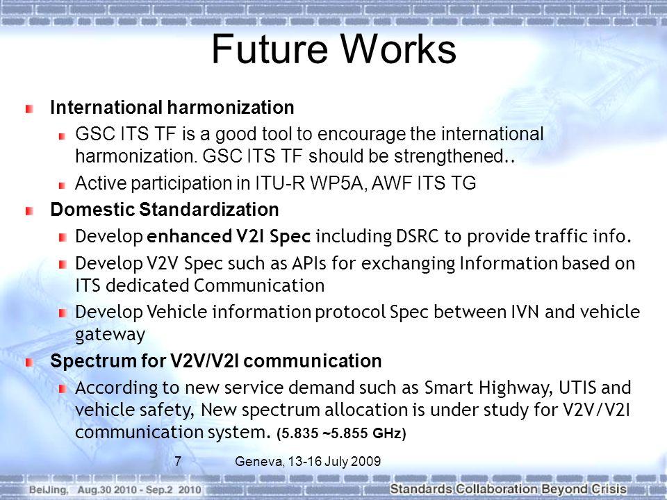 7Geneva, 13-16 July 2009 Future Works International harmonization GSC ITS TF is a good tool to encourage the international harmonization. GSC ITS TF s