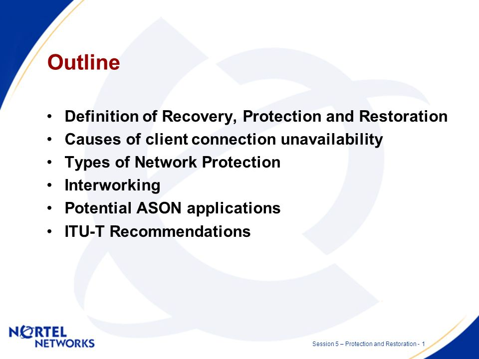 Network Protection and Restoration Session 5 - Optical/IP Network OAM & Protection and Restoration Presented by: Malcolm Betts Date: 2002 07 10