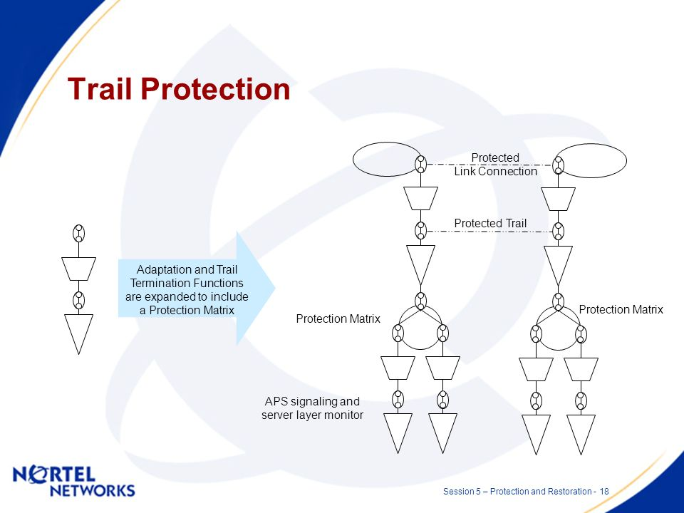 Session 5 – Protection and Restoration - 17 Trail protection Provides protected link connections to a client layer network –Commonly application is in