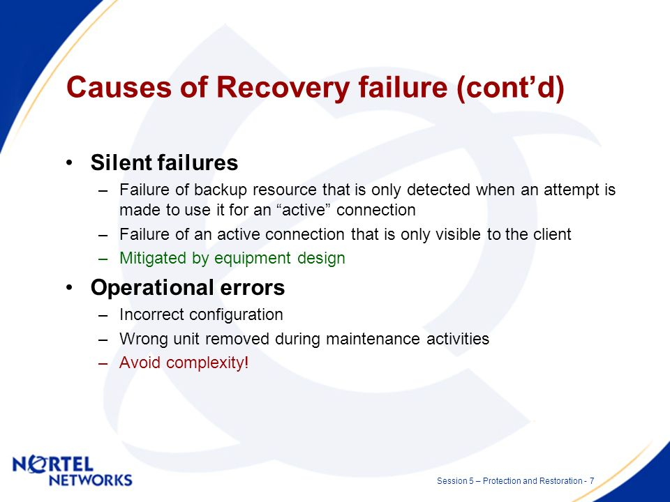 Session 5 – Protection and Restoration - 6 Causes of Recovery failure (contd) Single point of failure –At one point in the network the active and all