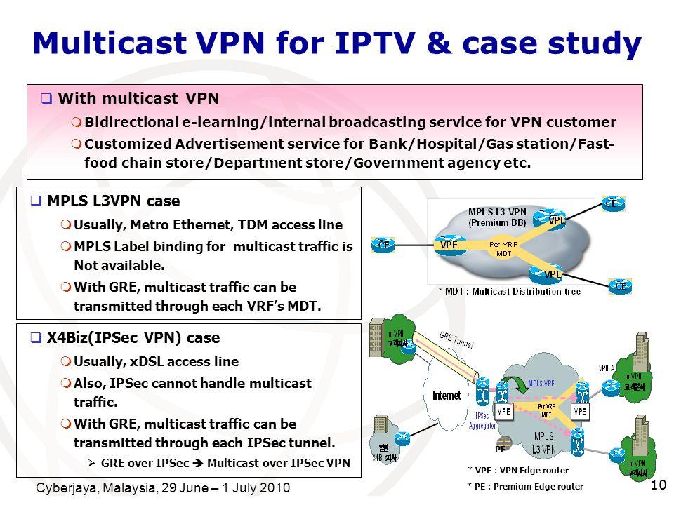 Cyberjaya, Malaysia, 29 June – 1 July 2010 10 Multicast VPN for IPTV & case study With multicast VPN Bidirectional e-learning/internal broadcasting se