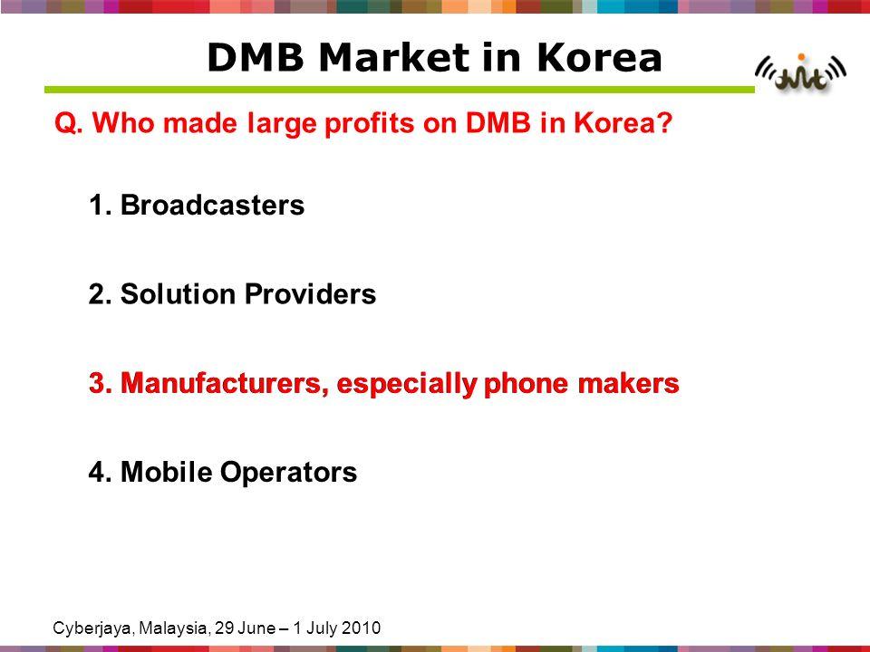 Cyberjaya, Malaysia, 29 June – 1 July 2010 DMB Market in Korea Q. Who made large profits on DMB in Korea? 1. Broadcasters 2. Solution Providers 3. Man