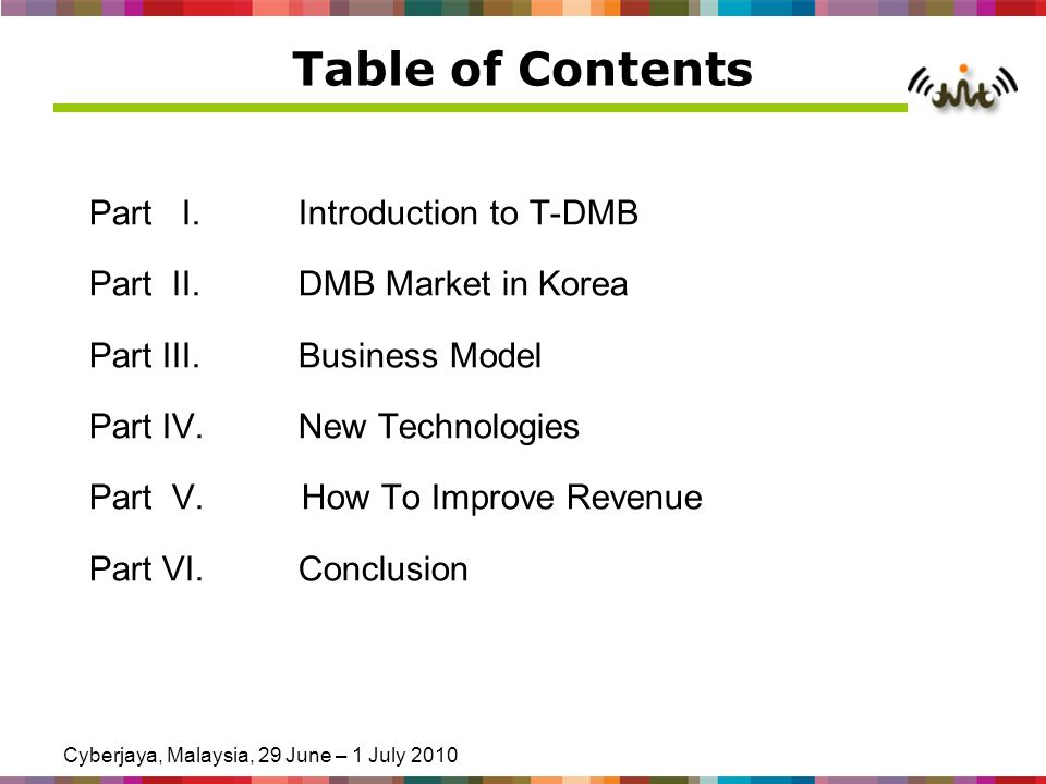 Cyberjaya, Malaysia, 29 June – 1 July 2010 Table of Contents Part I.Introduction to T-DMB Part II.DMB Market in Korea Part III.Business Model Part IV.New Technologies Part V.