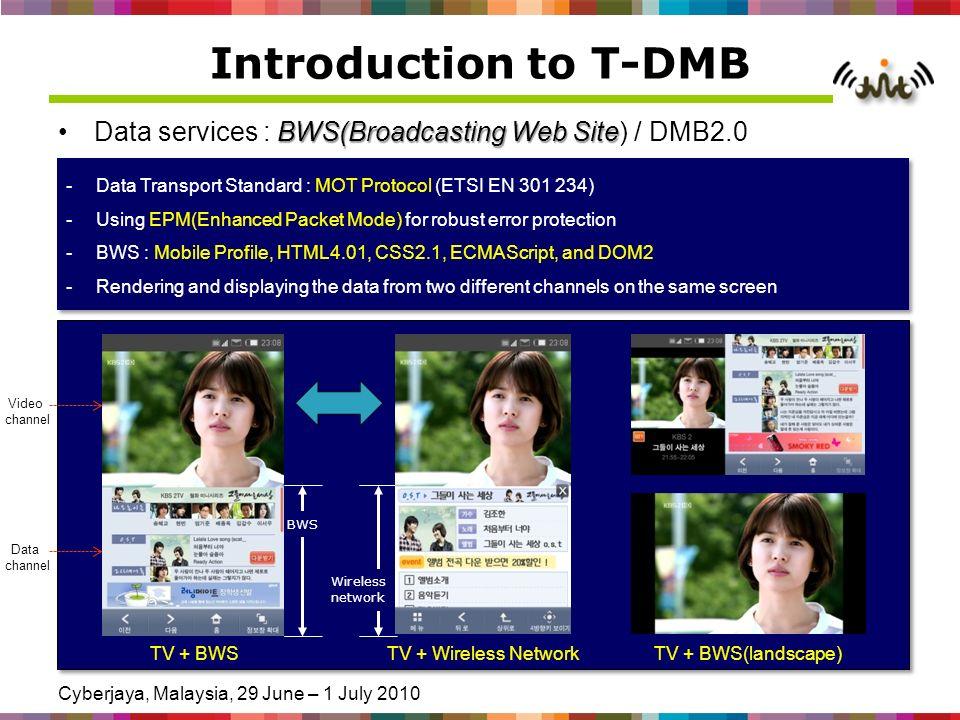 Cyberjaya, Malaysia, 29 June – 1 July 2010 Introduction to T-DMB BWS(Broadcasting Web SiteData services : BWS(Broadcasting Web Site) / DMB2.0 4 / 20 -