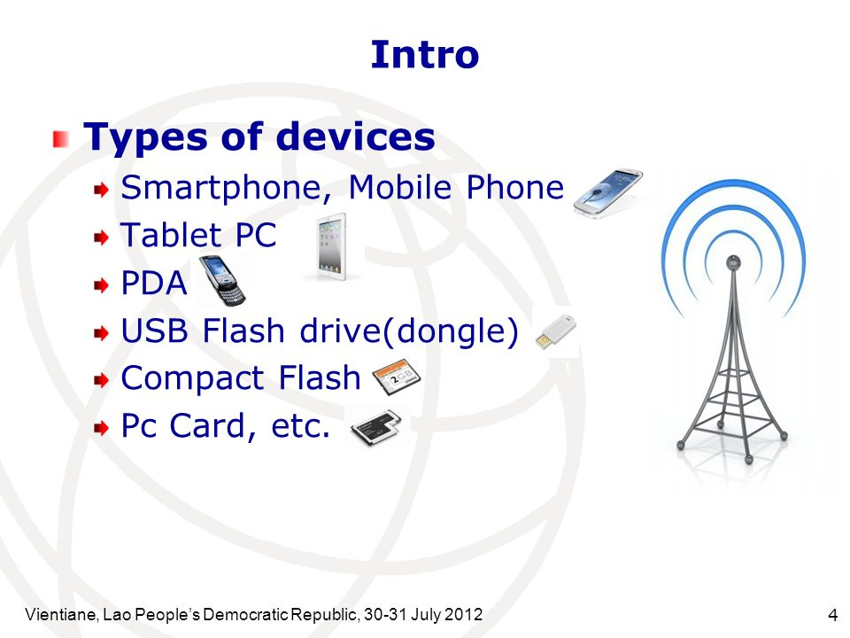 Types of devices Smartphone, Mobile Phone Tablet PC PDA USB Flash drive(dongle) Compact Flash Pc Card, etc. Vientiane, Lao Peoples Democratic Republic