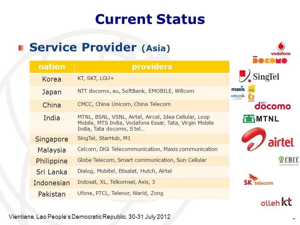 Service Provider (Asia) Vientiane, Lao Peoples Democratic Republic, 30-31 July 2012 5 Current Status nationproviders Korea KT, SKT, LGU+ Japan NTT doc
