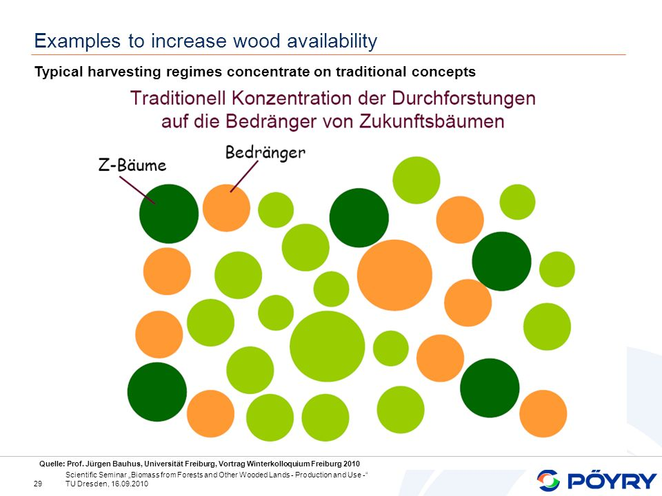 29 Scientific Seminar Biomass from Forests and Other Wooded Lands - Production and Use - TU Dresden, 16.09.2010 Examples to increase wood availability Typical harvesting regimes concentrate on traditional concepts Quelle: Prof.