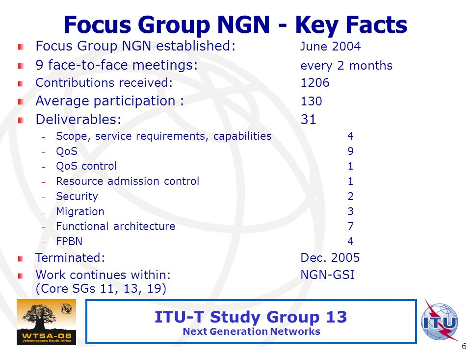 International Telecommunication Union 6 ITU-T Study Group 13 Next Generation Networks Focus Group NGN - Key Facts Focus Group NGN established: June 20
