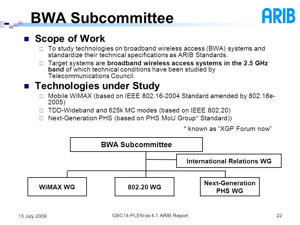 GSC14-PLEN-xx 4.1 ARIB Report22 13 July 2009 BWA Subcommittee Scope of Work To study technologies on broadband wireless access (BWA) systems and stand