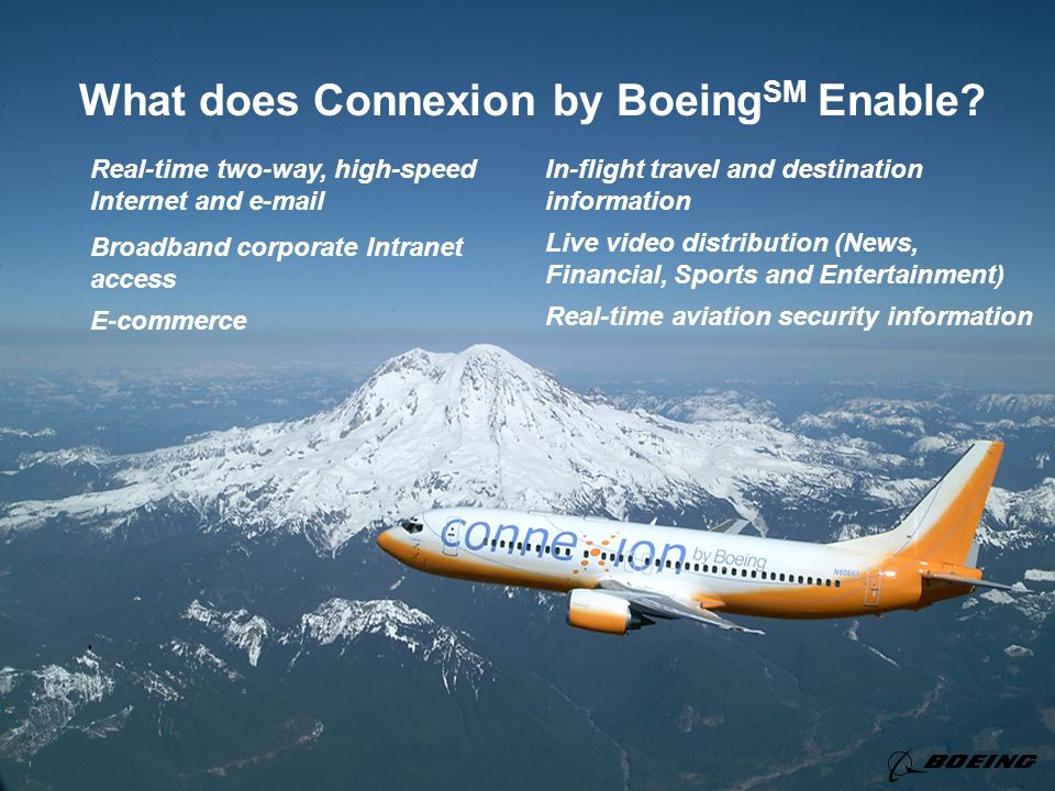 What does Connexion by Boeing SM Enable? Real-time two-way, high-speed Internet and e-mail Broadband corporate Intranet access E-commerce In-flight tr