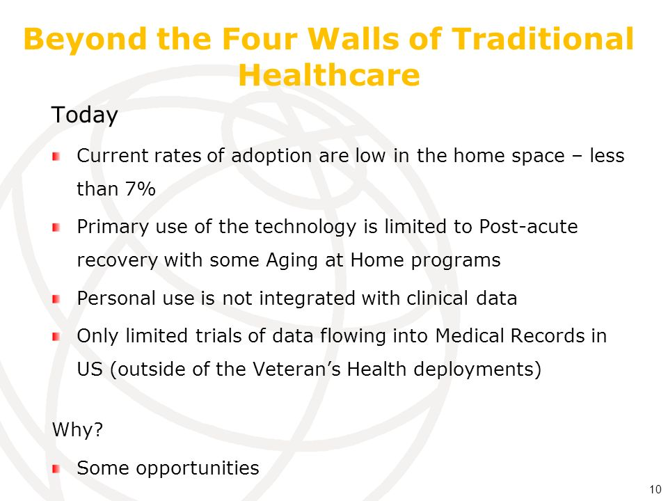 Beyond the Four Walls of Traditional Healthcare Today Current rates of adoption are low in the home space – less than 7% Primary use of the technology is limited to Post-acute recovery with some Aging at Home programs Personal use is not integrated with clinical data Only limited trials of data flowing into Medical Records in US (outside of the Veterans Health deployments) Why.