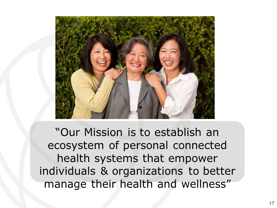 17 Our Mission is to establish an ecosystem of personal connected health systems that empower individuals & organizations to better manage their healt