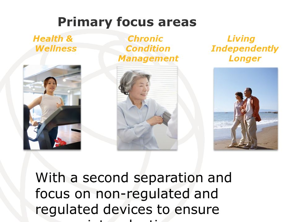 Primary focus areas Health & Wellness Chronic Condition Management Living Independently Longer With a second separation and focus on non-regulated and