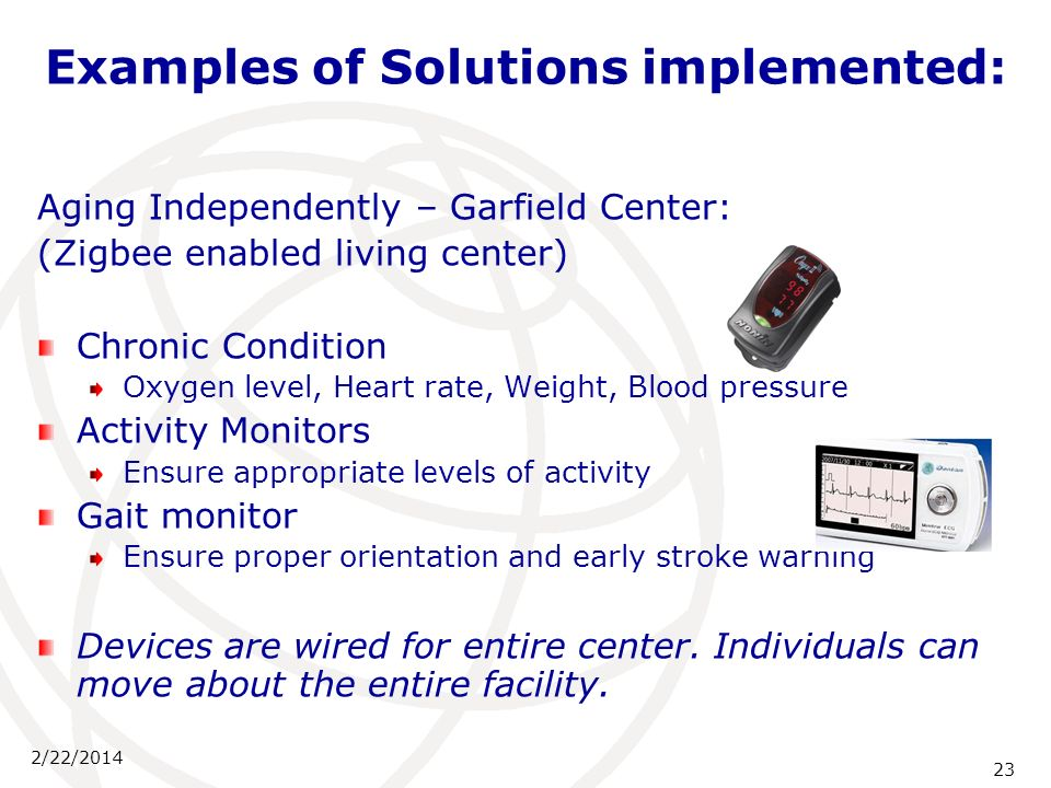 2/22/2014 23 Examples of Solutions implemented: Aging Independently – Garfield Center: (Zigbee enabled living center) Chronic Condition Oxygen level,