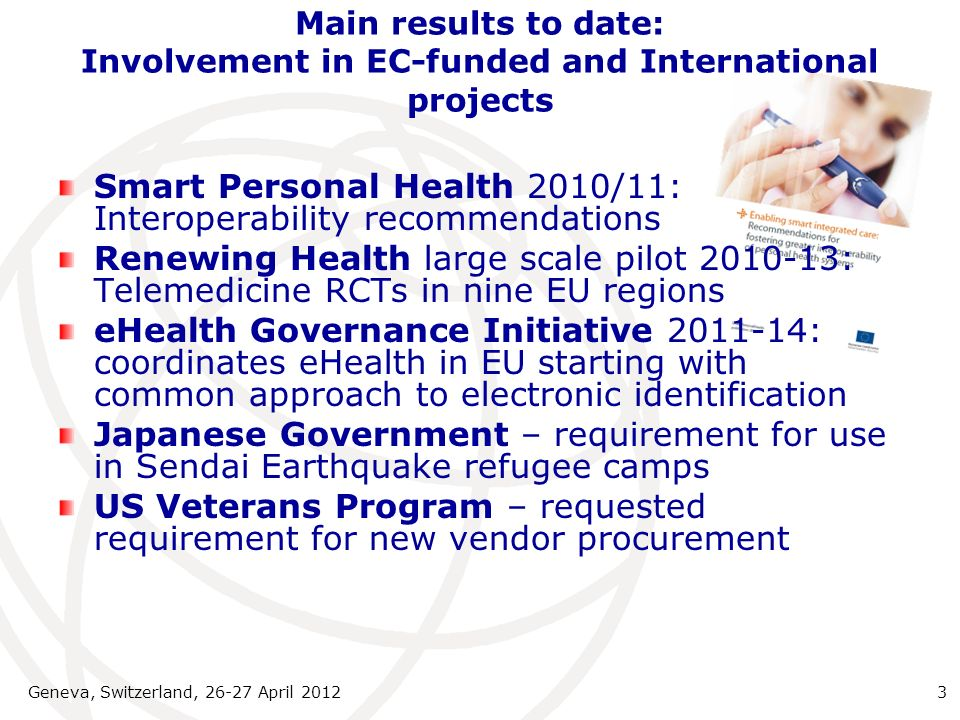 Main results to date: Involvement in EC-funded and International projects Smart Personal Health 2010/11: Interoperability recommendations Renewing Hea