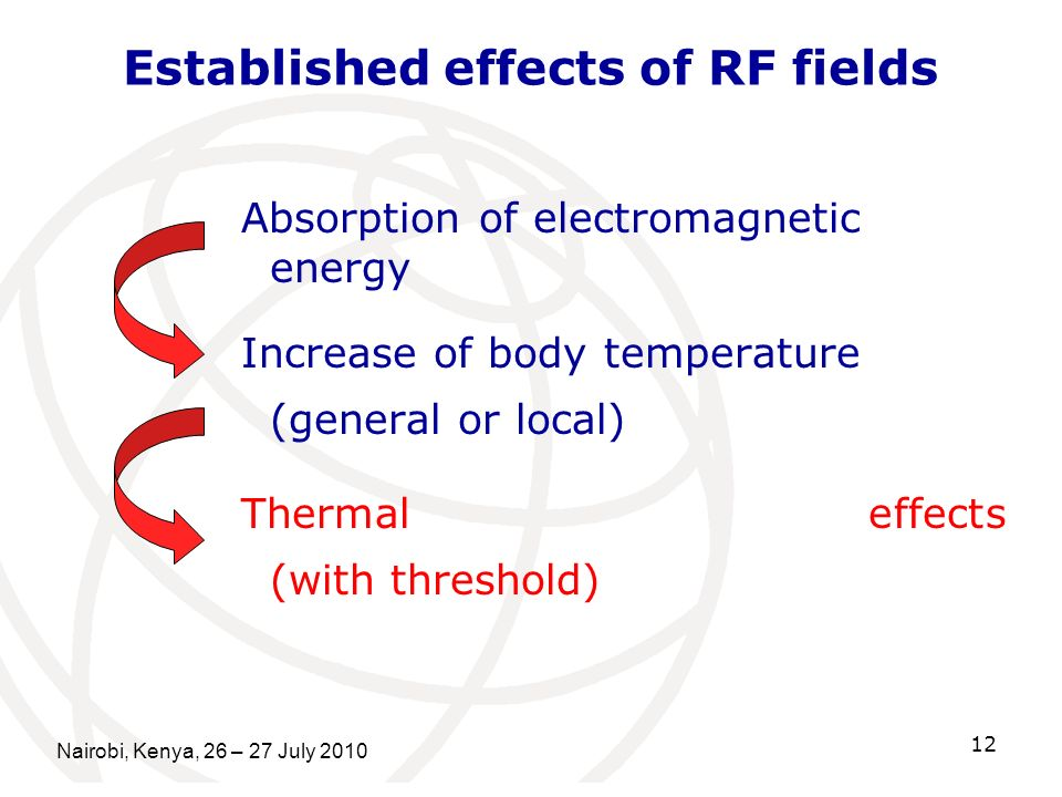 Nairobi, Kenya, 26 – 27 July 2010 12 Established effects of RF fields Absorption of electromagnetic energy Increase of body temperature (general or lo