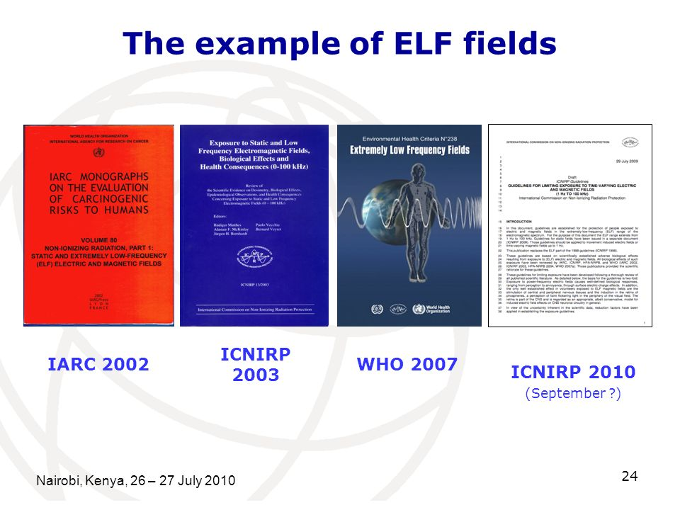 Nairobi, Kenya, 26 – 27 July 2010 24 The example of ELF fields IARC 2002WHO 2007 ICNIRP 2003 ICNIRP 2010 (September ?)