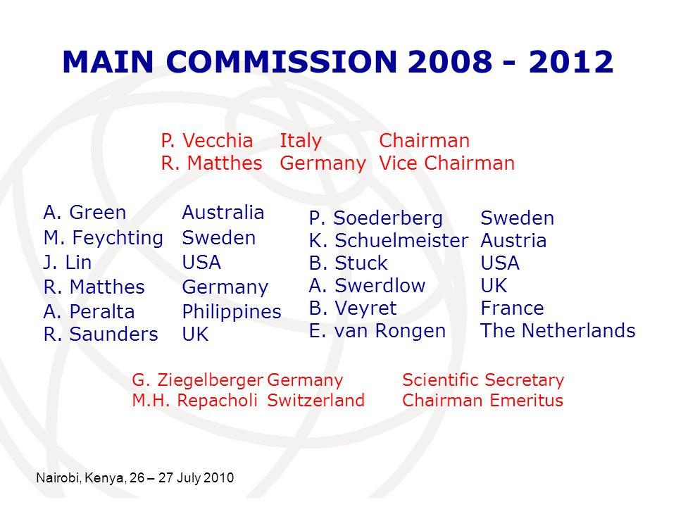 Nairobi, Kenya, 26 – 27 July 2010 MAIN COMMISSION 2008 - 2012 A.