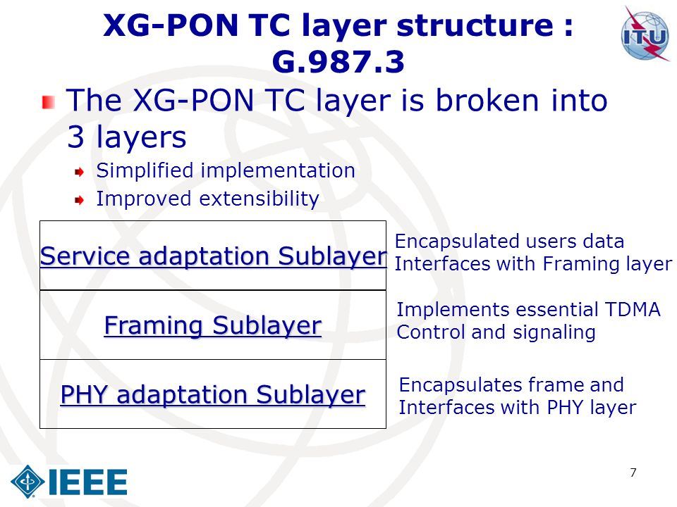 7 XG-PON TC layer structure : G.987.3 The XG-PON TC layer is broken into 3 layers Simplified implementation Improved extensibility PHY adaptation Subl