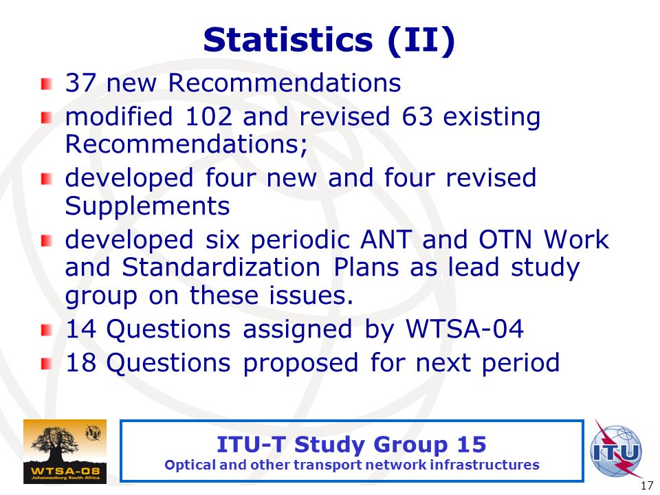 International Telecommunication Union 17 ITU-T Study Group 15 Optical and other transport network infrastructures Statistics (II) 37 new Recommendations modified 102 and revised 63 existing Recommendations; developed four new and four revised Supplements developed six periodic ANT and OTN Work and Standardization Plans as lead study group on these issues.