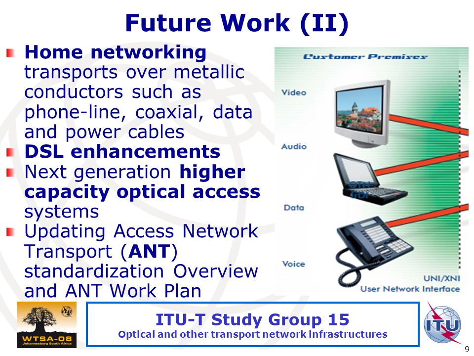 International Telecommunication Union 9 ITU-T Study Group 15 Optical and other transport network infrastructures Future Work (II) Home networking transports over metallic conductors such as phone-line, coaxial, data and power cables DSL enhancements Next generation higher capacity optical access systems Updating Access Network Transport (ANT) standardization Overview and ANT Work Plan