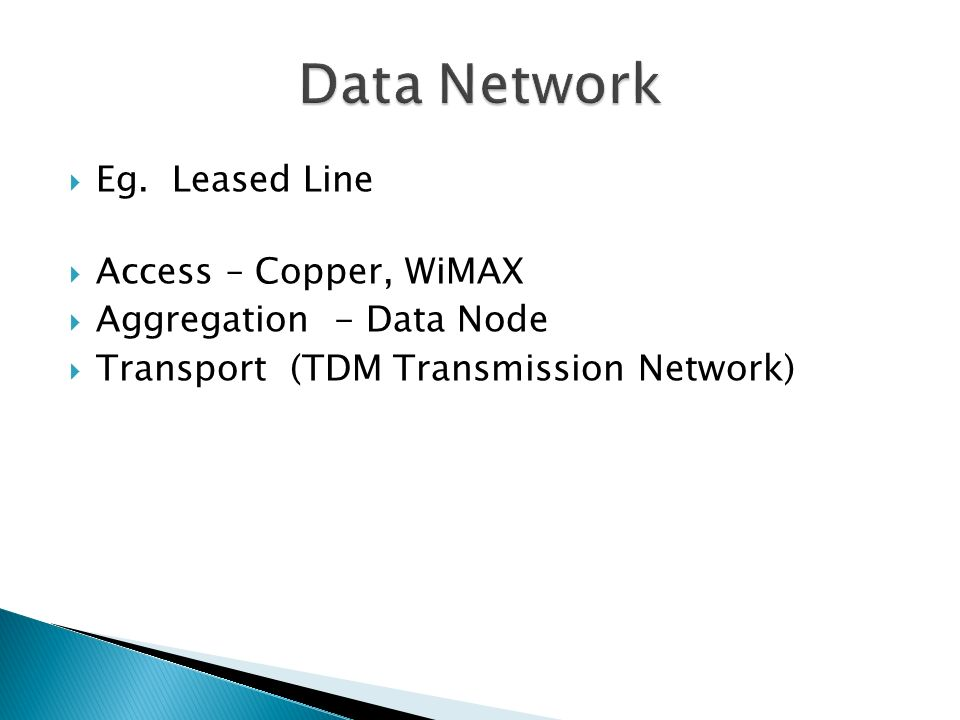 Eg. Leased Line Access – Copper, WiMAX Aggregation - Data Node Transport (TDM Transmission Network)