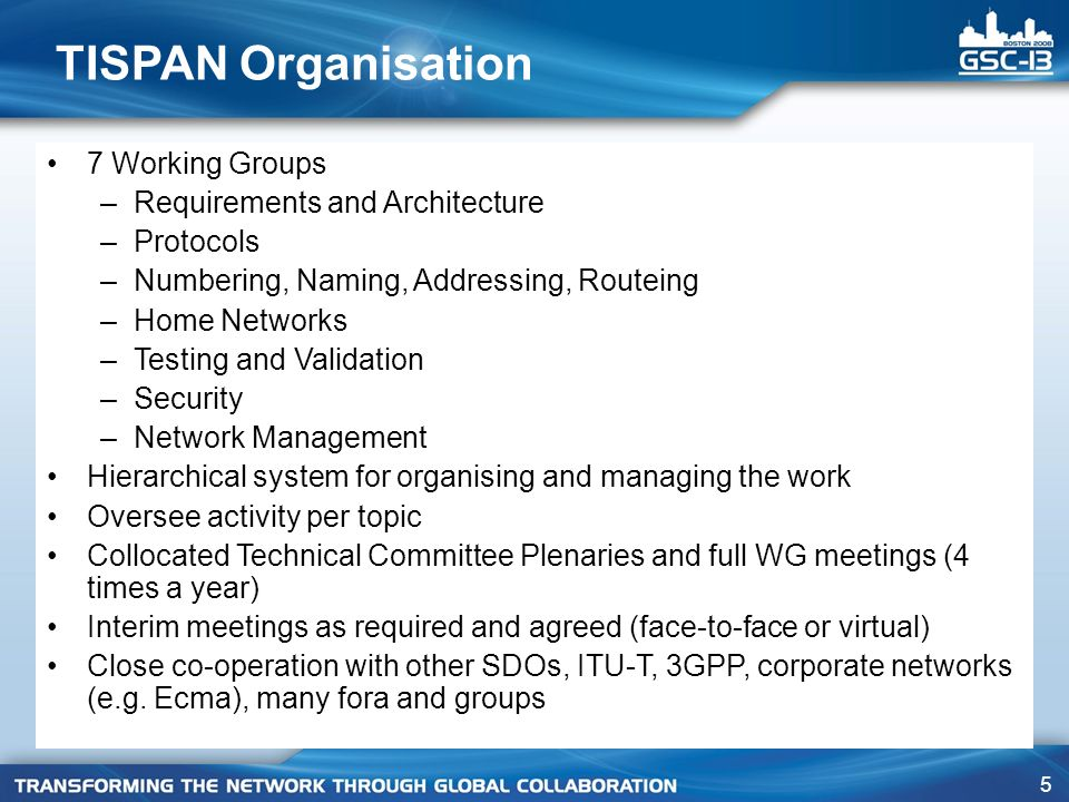 5 TISPAN Organisation 7 Working Groups –Requirements and Architecture –Protocols –Numbering, Naming, Addressing, Routeing –Home Networks –Testing and