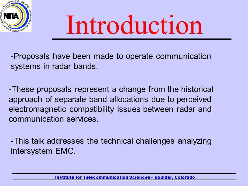 Factors to Consider for Intersystem EMC ITU-R Radar Seminar Geneva 24 September 2005 Frank Sanders Chief, ITS Telecommunications Theory Division, U.S.