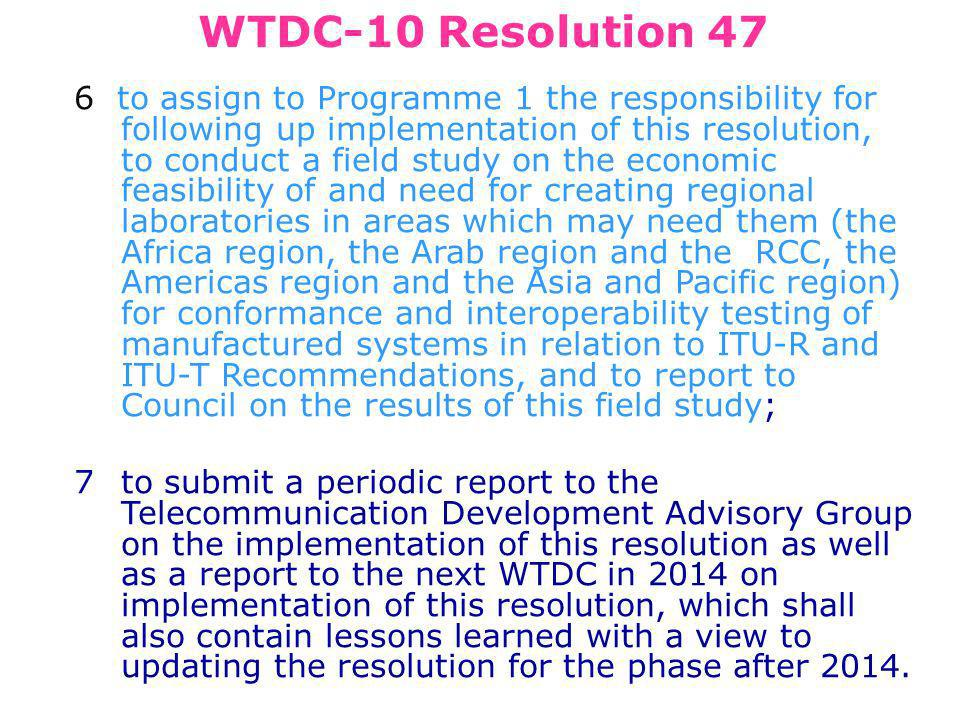 WTDC-10 Resolution 47 6 to assign to Programme 1 the responsibility for following up implementation of this resolution, to conduct a field study on the economic feasibility of and need for creating regional laboratories in areas which may need them (the Africa region, the Arab region and the RCC, the Americas region and the Asia and Pacific region) for conformance and interoperability testing of manufactured systems in relation to ITU R and ITU T Recommendations, and to report to Council on the results of this field study; 7to submit a periodic report to the Telecommunication Development Advisory Group on the implementation of this resolution as well as a report to the next WTDC in 2014 on implementation of this resolution, which shall also contain lessons learned with a view to updating the resolution for the phase after 2014.