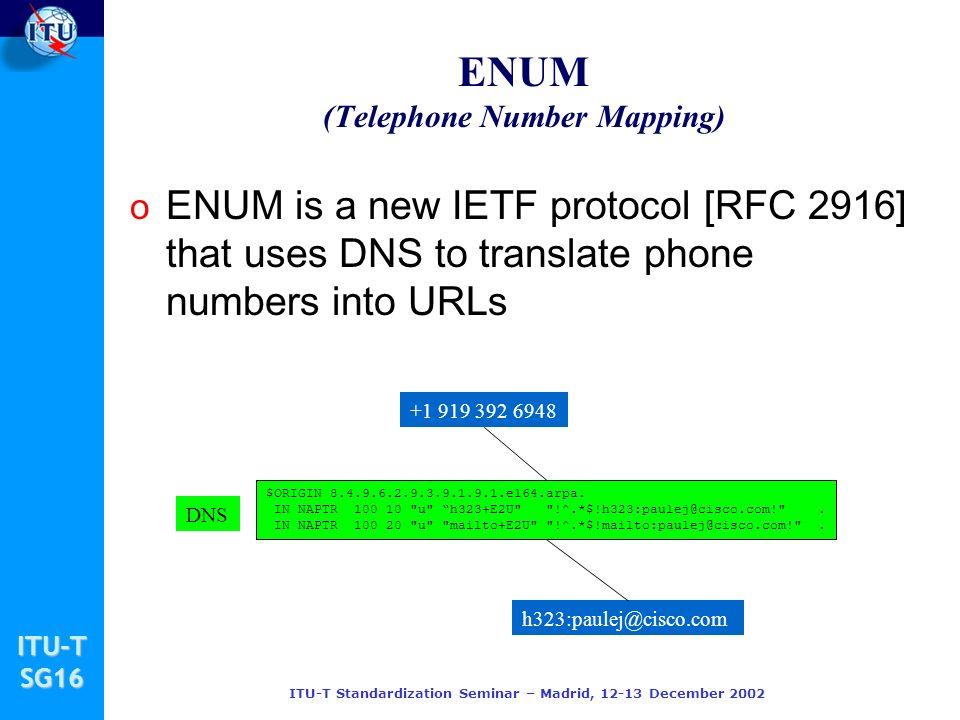 ITU-TSG16 ITU-T Standardization Seminar – Madrid, 12-13 December 2002 ENUM (Telephone Number Mapping) o ENUM is a new IETF protocol [RFC 2916] that uses DNS to translate phone numbers into URLs $ORIGIN 8.4.9.6.2.9.3.9.1.9.1.e164.arpa.