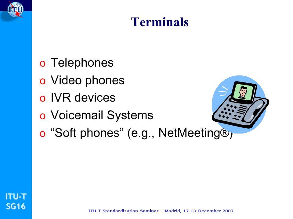 ITU-TSG16 ITU-T Standardization Seminar – Madrid, 12-13 December 2002 Terminals o Telephones o Video phones o IVR devices o Voicemail Systems o Soft phones (e.g., NetMeeting®)