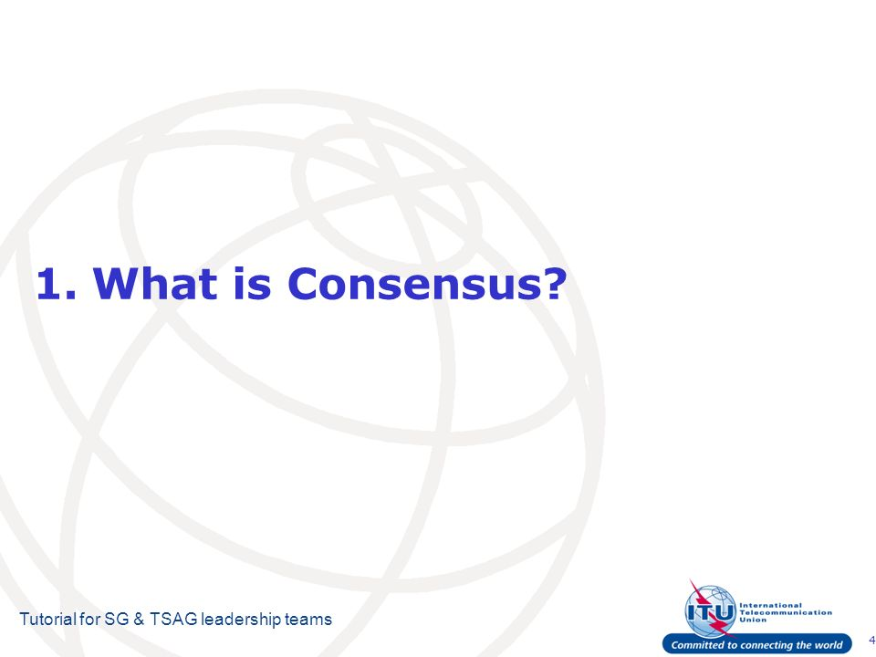 4 Tutorial for SG & TSAG leadership teams 1.What is Consensus