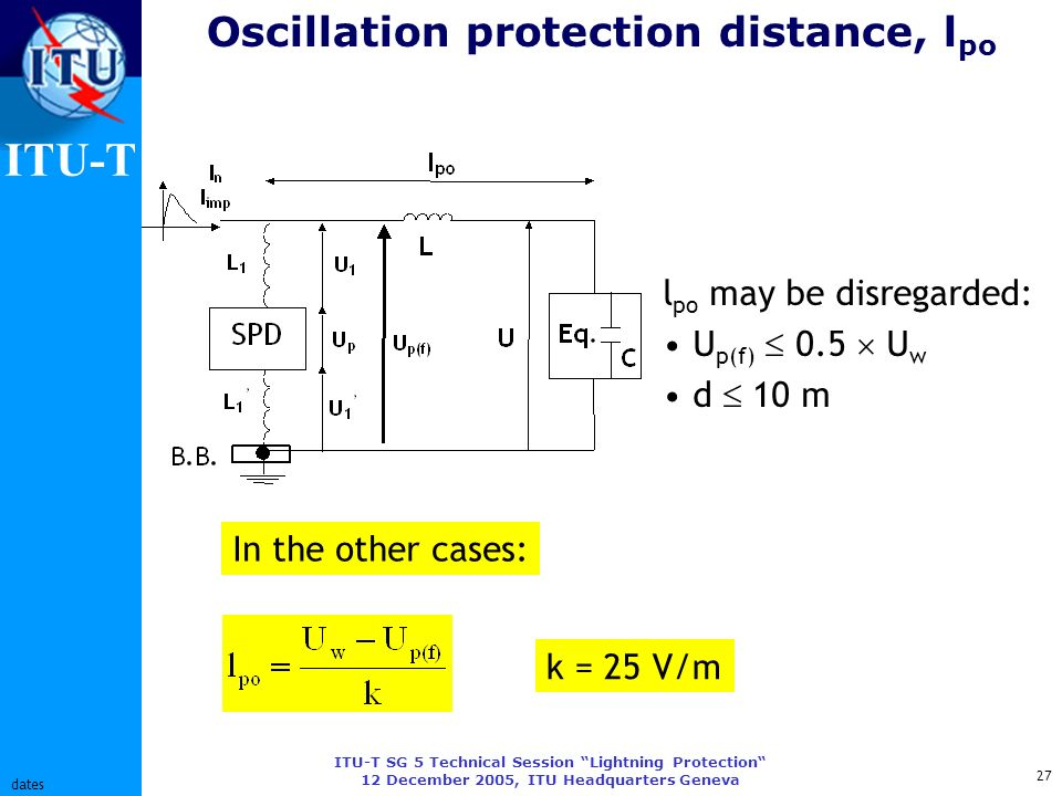 ITU-T ITU-T SG 5 Technical Session Lightning Protection 12 December 2005, ITU Headquarters Geneva 27 dates Oscillation protection distance, l po l po may be disregarded: U p(f) 0.5 U w d 10 m k = 25 V/m In the other cases:
