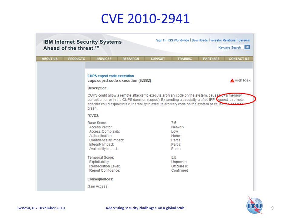 CVE 2010-2941 10 Addressing security challenges on a global scaleGeneva, 6-7 December 2010